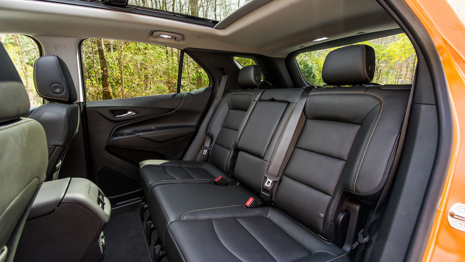 "The all-new 2018 Chevrolet Equinox features a new ""kneeling"" rear seat which enhances functionality. With it, the bottom cushions tilt forward when the split-folding seatbacks are lowered, allowing a flat floor for easier loading."